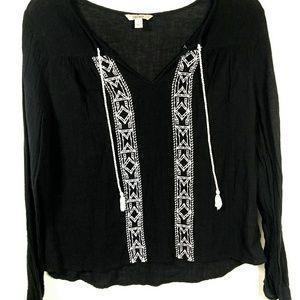 Decree Embroidered Texture Shirt W/Tassels SZ L